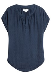 Velvet Embroidered Top Blue