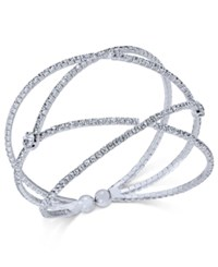 Inc International Concepts Silver Tone Pave Flex Cuff Bracelet Only At Macy's