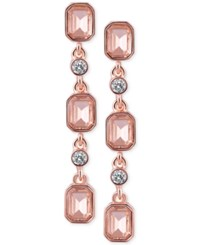T Tahari Rose Gold Tone Pink And Clear Crystal Drop Earrings