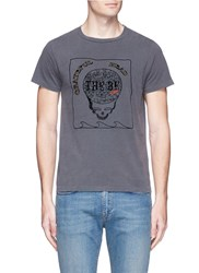 Remi Relief 'Grateful Head' Skull Print Cotton T Shirt Grey