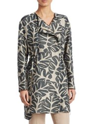 Akris Punto Tropical Leaves Jacquard Coat Sand Avocado