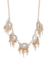 Inc International Concepts Rose Gold Tone Crystal And Chain Statement Necklace Only At Macy's