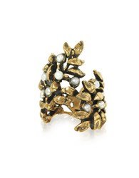 Alcozer And J Rings Mistletoe Brass Ring W Glass Pearl