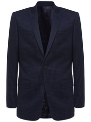 Jaeger Wool Faded Check Suit Jacket Navy