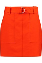 Michael Kors Collection Belted Cotton Broadcloth Mini Skirt Bright Orange