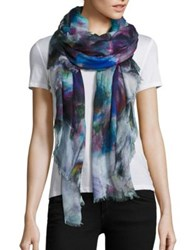 Franco Ferrari Floral Silk And Modal Scarf Blue