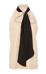 Prabal Gurung Tie Neck Halter Blouse Neutral