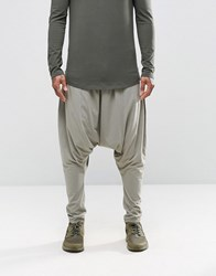 Asos Extreme Drop Crotch Joggers In Lightweight Fabric In Light Gray Elephant Skin
