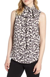 Anne Klein Tie Front Print Blouse Oyster Shell Combo