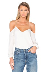 Haute Hippie Long Sleeve Cold Shoulder Blouse Ivory