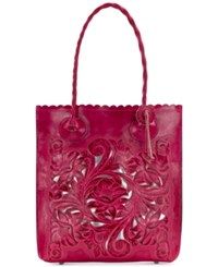 Patricia Nash Burnished Tooled Cavo Medium Tote Pink