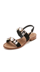 Kate Spade Bacau Jeweled Flat Sandals Black