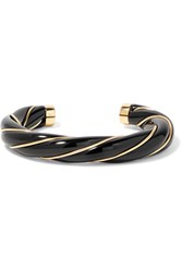 Aurelie Bidermann Diana Gold Plated Resin Bangle Black