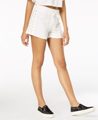 Material Girl Juniors' Lace Up Drawstring Waist Shorts Created For Macy's Bright White
