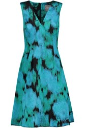 Lela Rose Fil Coupe Dress Turquoise