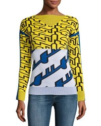 Kenzo Long Sleeve Graphic Knit Top White