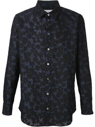 Julien David Floral Jacquard Shirt Blue