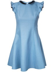 Loveless Frill Sleeve Dress Women Polyester 9 Blue