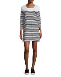 Soft Joie Alyce Striped 3 4 Sleeve T Shirt Dress White Pattern