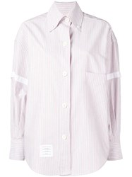 Thom Browne Supersized University Stripe Shirt Red