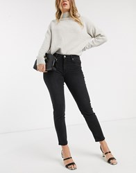 Mango Cropped High Rise Skinny Jean In Grey