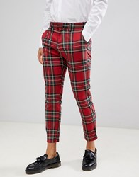 Pull And Bear Pullandbear Tailored Trouser In Red Check