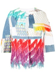 Ava Adore Patchwork Jacket Women Cotton Polyester Cupro 44 White