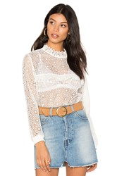Anine Bing Lace Ruffle Top White