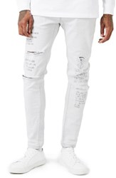 Topman Men's Aaa Collection Voices Print Skinny Fit Jeans White Multi