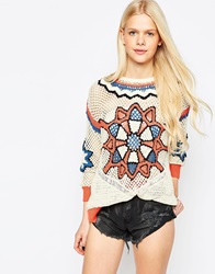 Eleven Paris Crochet Knit Jumper Multicolour