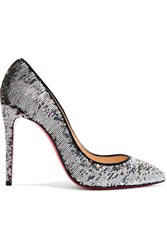 Christian Louboutin Pigalle Follies 100 Sequined Canvas Pumps Silver
