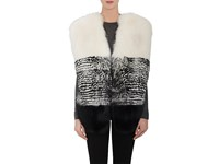 Prabal Gurung Women's Fox Fur And Leather Vest Black