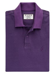 Thomas Pink Lyell Texture Classic Fit Polo Shirt Purple Black