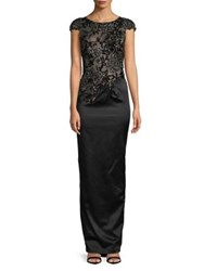Mandalay Embellished Cap Sleeve Column Dress Black