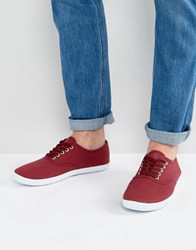 Asos Oxford Sneakers In Burgundy Canvas Red