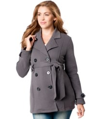 Motherhood Maternity French Terry Belted Peacoat Charcoal