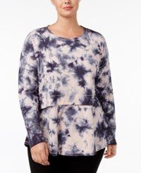 Calvin Klein Performance Plus Size Tie Dyed Peplum Top Frosting Combo