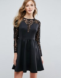 Amy Lynn Lace Sleeve Scuba Dress Black