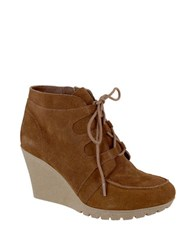 Mia Berdina Suede Lace Up Wedge Boots Rust