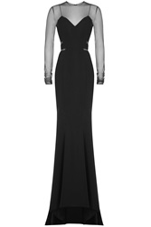 Alexandre Vauthier Floor Length Gown With Sheer Inserts Black