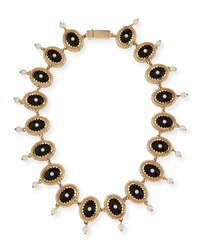 Givenchy Oval Crystal And Pearly Necklace Black