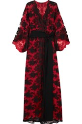 Rosamosario Madame Shehu Lace And Silk Chiffon Kimono Red