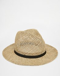 Asos Straw Fedora Hat With Faux Leather Band Natural Beige