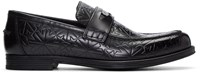 Jimmy Choo Black Star Embossed Darblay Loafers