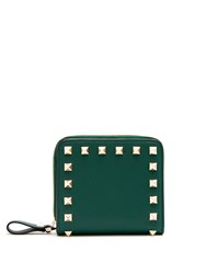 Valentino Rockstud Compact Leather Wallet Green