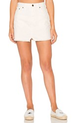 Free People Step Up Denim Mini Skirt Ivory