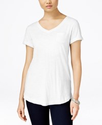 Styleandco. Style And Co. V Neck Tee Bright White
