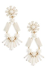 J.Crew Flower And Bead Chandelier Earrings White