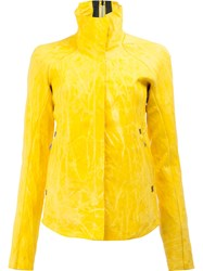 Isaac Sellam Experience Crease Effect Leather Jacket Yellow Orange