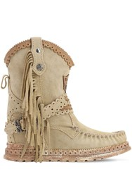 El Vaquero 70Mm Arya Fringed Leather Boots Beige